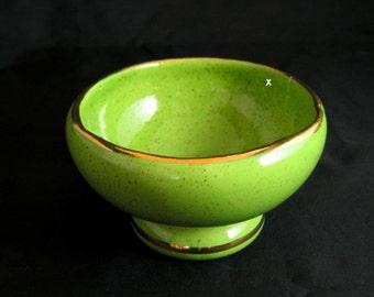 Green Rose Bowl, Speckled with 22 kt. Gold Trim, Dish, Vase, Retro, Deco, 1950's