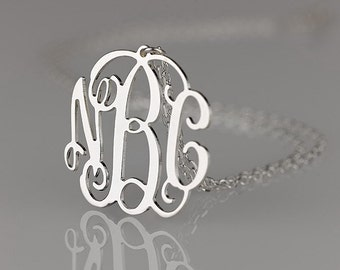 Monogram necklace - 2 inch Personalized Monogram - 925 Sterling silver