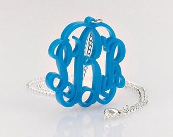 "Monogram Necklace 1.6"" Acrylic - Custom Made"