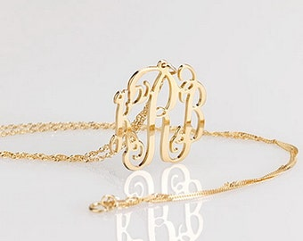 Monogram necklace - 0.8 inch Personalized Monogram - 14k Solid Gold