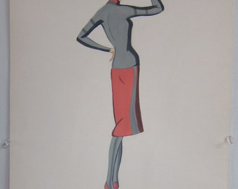 1957 Vogue Fashion Illustration--Woman in Red Skirt and Shoes