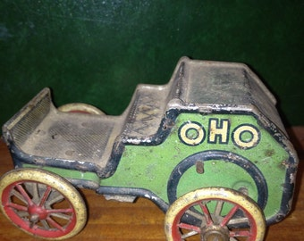 Lehmann vintage tin wind up toy car OHO German // rate green driver