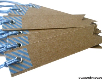 blue baby shower favor tags - kraft pennant flag with blue striped washi tape - set of 20