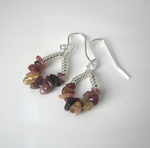 Drop Earrings Silver Wire Wrapped Dangle Earrings Gemstone Tourmaline Earrings