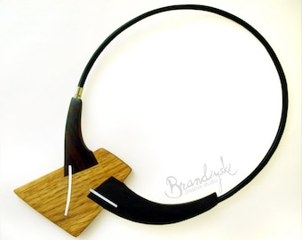 Handmade Wooden Necklace - oak, ebony and rose wood with aluminum elements, 4.5mm black leather cord