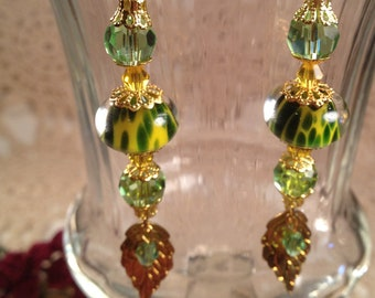 Sunflower Artisan Lampwork Dangle Earrings
