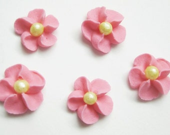 Pink Royal Icing Flowers Pink with Yellow Sugar Pearl Center (100)