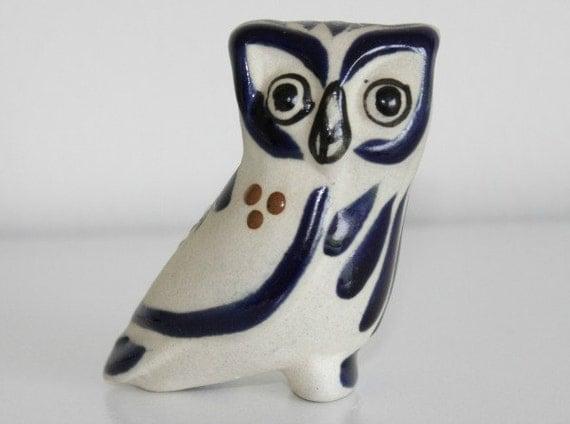 Vintage Hand Painted Owl Miniature Owl Figurine Retro Owl Home Decor