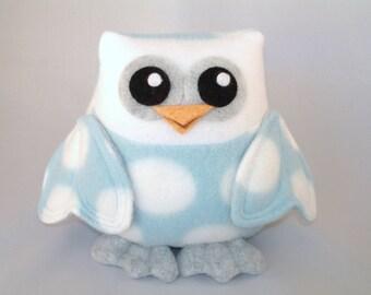 Plush owl toy heart wings in blue polka dot fleece