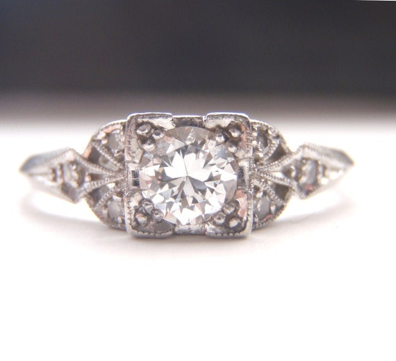 Edwardian / Art Deco Engagement Ring. Quality Platinum and Diamonds. Handmade. Gorgeous piece of History.