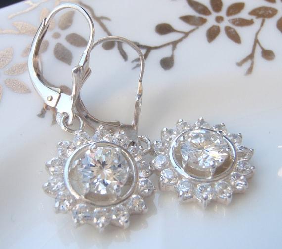 Bridal Earrings. Solid Sterling Silver Pendants & Hooks. Wedding Earrings. Diamond Look. Quality.