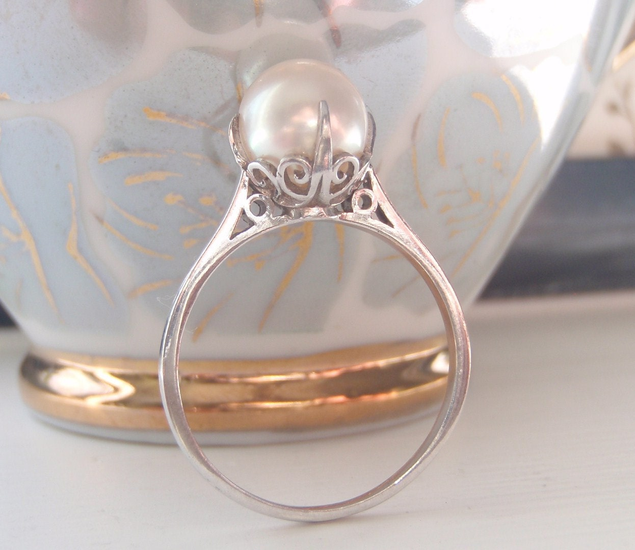Rare Vintage Mikimoto Pearl And Sterling Silver Ring Pearl 🔎zoom