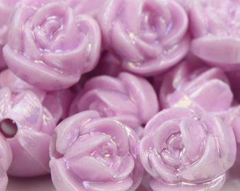 A-052 / 14 mm. Rose Beads Light Violet Pearl Coating / 10 pcs