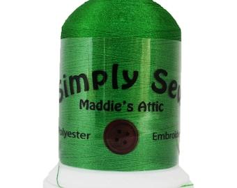 100% Polyester Embroidery Thread - 1100 Yards Spool - Medium Green #39