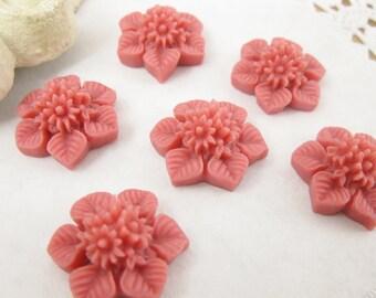 Shop Closing Sale! 6 Pcs. 21mm  Berry Pink Flower Bouquet and Leaf Cabochon FL007-BER