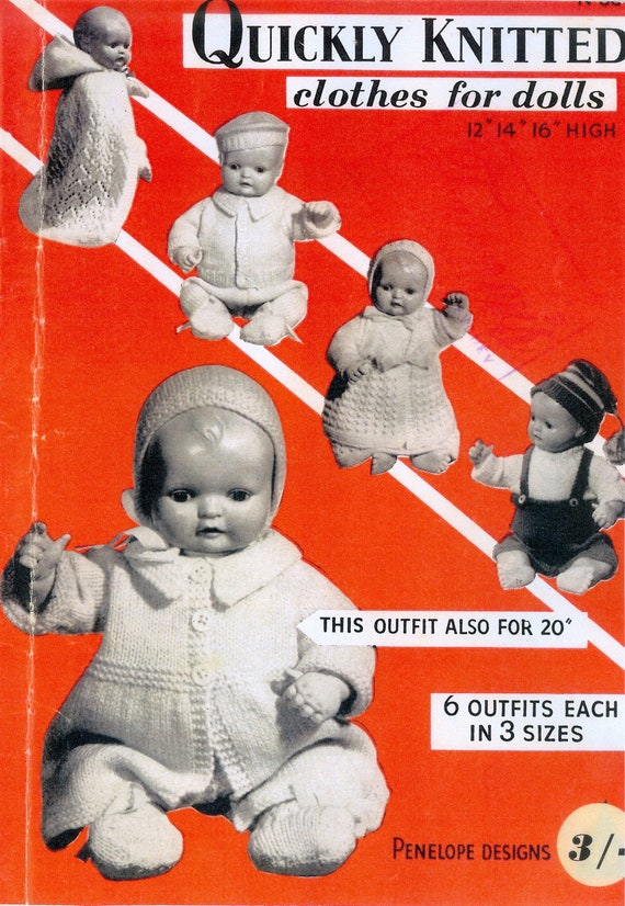 """PDF Vintage Knitting Patterns - Quickly Knitted Clothes for Dolls -12"""" 14"""" 16"""" and one 20"""""""