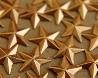 12 pc. Raw Brass Barn Stars: 12mm by 12mm - made in USA | RB-101
