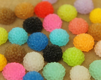 30 pc. Multi-Colored Frosted Chrysanthemum Cabochons 10mm | RES-197