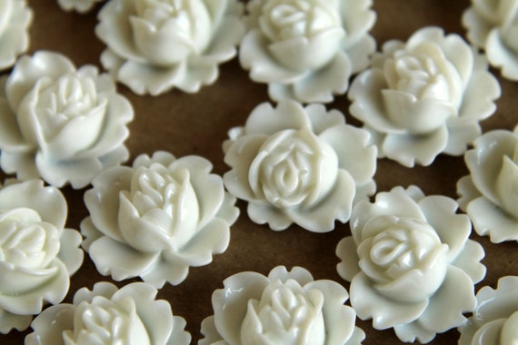 CLOSEOUT - 20 pc. White Blooming Lotus Cabochons 18mm x 16mm - RES-564