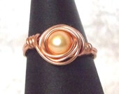 Ring, Freshwater Pearl and Copper Wire Wrapped
