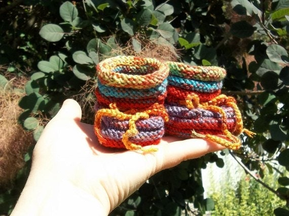 Moonies - funky one-of-a-kind hand knit baby booties in machine washable microfiber