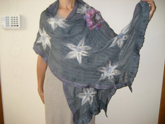 SALE Nuno felt grey shawl wrap scarf, viscose, gray, white flower decoration