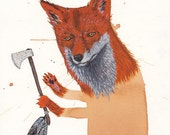 Fox with hatchet
