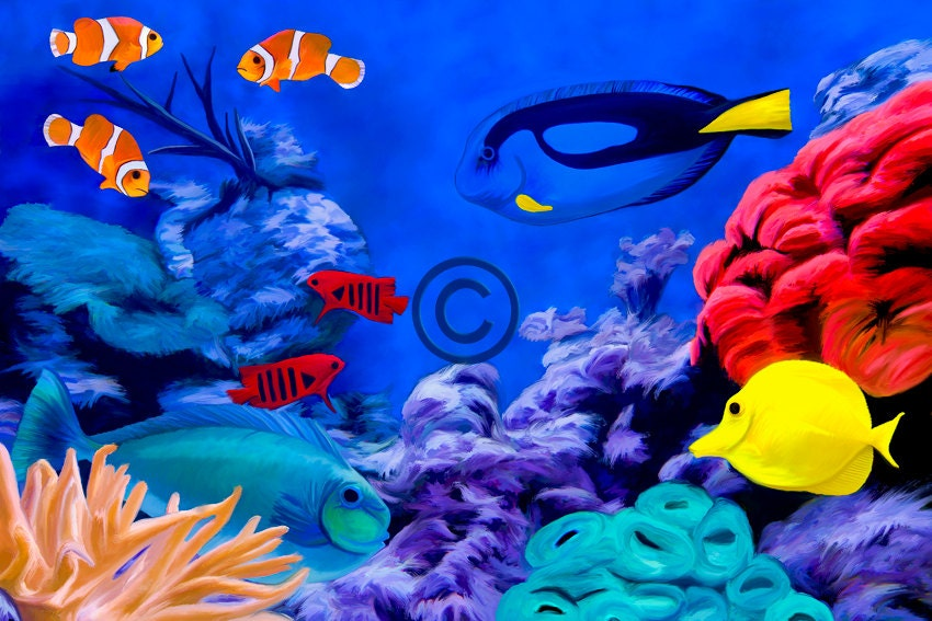 Tropical fish aquarium giclee fine art print on canvas for Fish tank paint