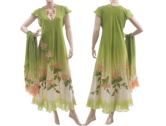 Artsy hand dyed long dress, maxi dress in green with apricot - art to wear for plus sized women - with scarf - large L