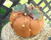 Primitive Country Fabric Pumpkin For Fall, Halloween and Thanksgiving Orange Fabric