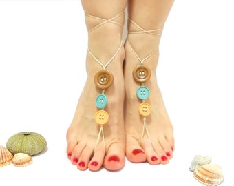 Barefoot Sandals, button jewelry, Button Barefoot Sandles, Pastel, Button barefoot sandal, Button bracelet, chamois leather, wedding sandal