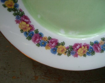 Vintage Plates, P M Bavaria, Roses, Pink, Yellow, Floral, Green, White, Dinner Plates, Salad Plates, Set of Two