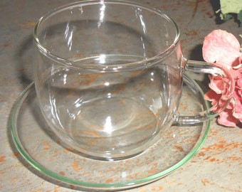 Vintage Tea Cups & Saucers, Clear Glass, Punch Cups, Glass Tea Cups, Party Cups, Set of Four