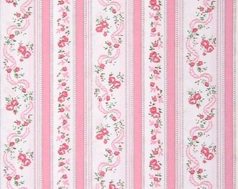 "one yard plus 34"" of Shabby chic pink roses ""ticking"" stripe fabric"