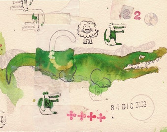Fine art Crocodile green and red collage, lion