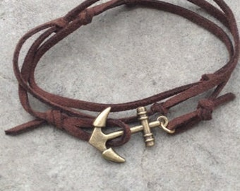 Men's Brown Leather Wrap Bracelet with Brass Anchor Hook