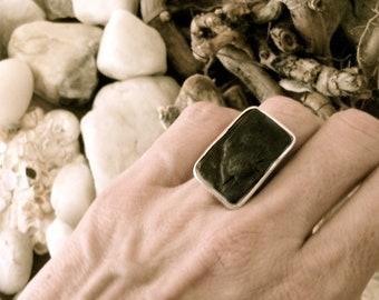 Sterling Silver Porcelain Ring Adjustable