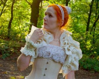 Bridal Ivory Silk Ruffle Opera Shrug  LADY LILLITH  Steampunk Shrug Wedding By Ophelias Folly