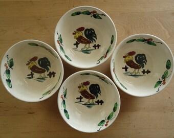 Vintage Mid Century Retro Rooster Ceramic Bowl Set