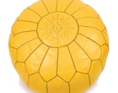 set of 2 Moroccan Leather Pouf Ottoman Poof Pouffe pouffes hassock Footstool Beanbag leather pillow Yellow