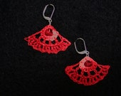 Small  Deep Coral Fan Earrings with Matching Bead
