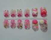 Cute pink 3D Japanese nail art
