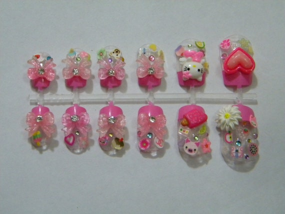 Cute pink 3D Japanese nail art