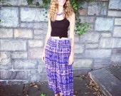 RESERVED FOR MATILDA Purple Elephant Print Vintage Boho Hippie Broom Skirt