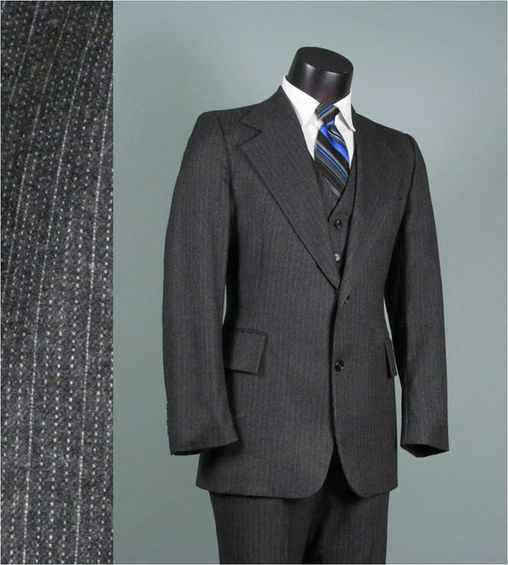 Vintage Mens Suit 1970s PIERRE CARDIN Steel Grey Pinstripe Wide Lapel Huge Flare Leg HIPSTER Wool Mens Vintage Suit 42 Chest
