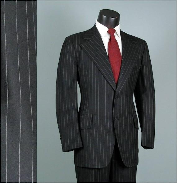 Vintage Mens Suit 1960s 1970s Richman Brothers Deep Black Pinstripe AMERICAN MOD Brushed Wool Two Piece Mens Vintage Suit 40 42