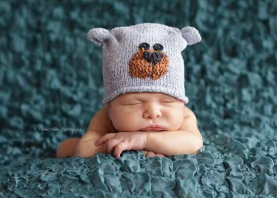 Newborn Blue Upcycled Bear Hat Photography Prop Knit Sweater Hat