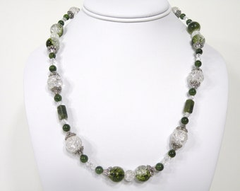 Green Crackle, Beaded Necklace, Handmade Jewelry