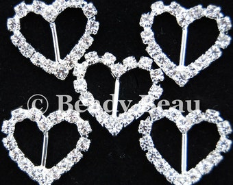 Pk 5  heart crystal rhinestone diamante ribbon buckle sliders 19mm for card craft wedding invitations etc