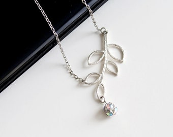 Silver twig necklace, brunch and leaves AB small crystal silver necklace, wedding jewelry